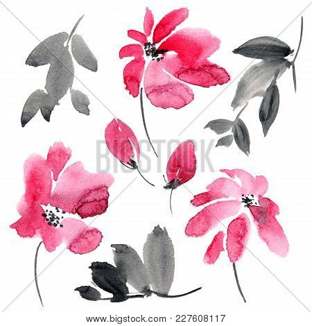 Watercolor And Ink Illustration Of Red Flowers And Leaves. Sumi-e, U-sin Painting. Set On White Back