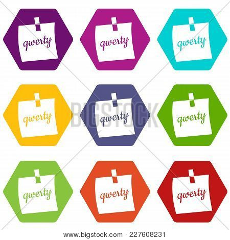 Paper Sheet With Text Qwerty Icon Set Many Color Hexahedron Isolated On White Vector Illustration