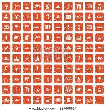 100 World Tour Icons Set In Grunge Style Orange Color Isolated On White Background Vector Illustrati