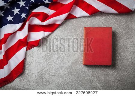 USA flag on grey background
