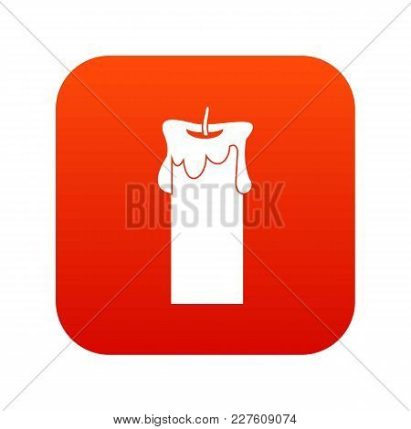 Big Candle Icon Digital Red For Any Design Isolated On White Vector Illustration