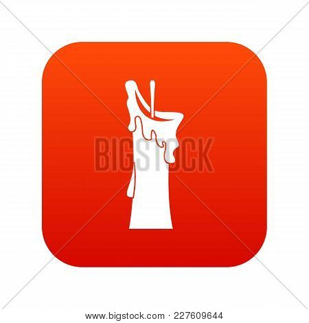 Little Candle Icon Digital Red For Any Design Isolated On White Vector Illustration