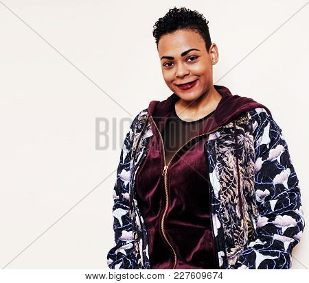 Young Pretty  Woman With Modern Haircut Fancy Dressed, Posing Smiling, Fashion Concept, Lifestyle Pe