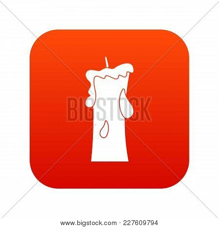 Small Candle Icon Digital Red For Any Design Isolated On White Vector Illustration