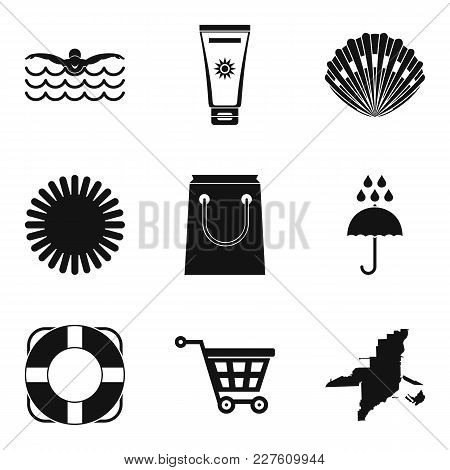Seaside Resort Icons Set. Simple Set Of 9 Seaside Resort Vector Icons For Web Isolated On White Back