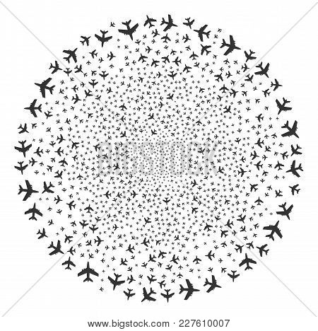 Jet Plane Exploding Spheric Cluster. Object Pattern Organized From Random Jet Plane Pictograms As Fe