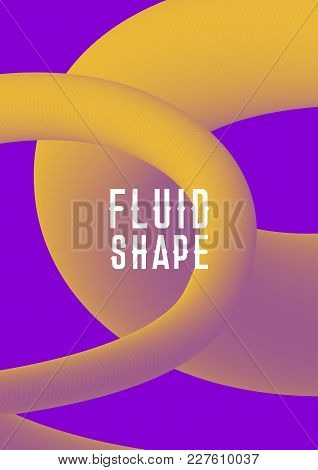 Vector Modern Abstract Cover With Plastic Shape. Liquid Fluid Shape Cover Design. Ultra Violet Purpl