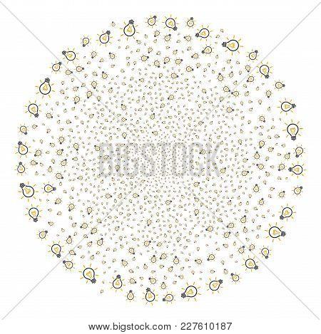 Light Bulb Explosion Globula. Object Pattern Combined From Random Light Bulb Design Elements As Fire