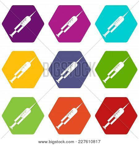Syringe With Needle Icon Set Many Color Hexahedron Isolated On White Vector Illustration