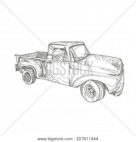 Doodle Art Illustration Of A Vintage Pickup Truck, A Light Duty Truck With Enclosed Cab And An Open