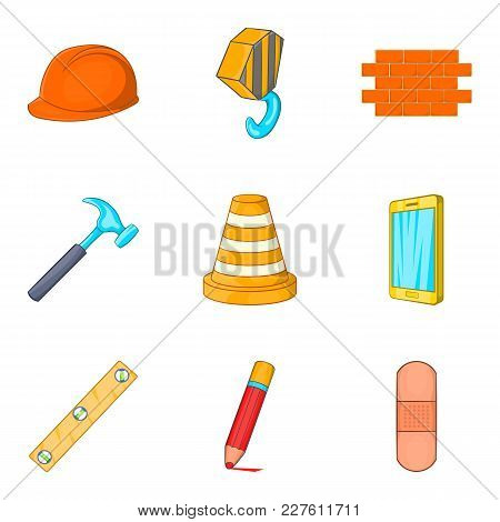 Home Repair Icons Set. Cartoon Set Of 9 Home Repair Vector Icons For Web Isolated On White Backgroun