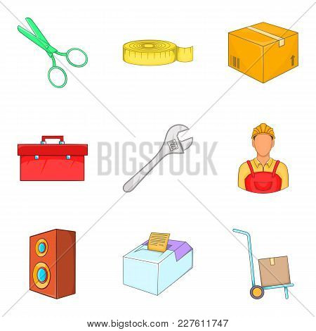 Work Service Icons Set. Cartoon Set Of 9 Work Service Vector Icons For Web Isolated On White Backgro
