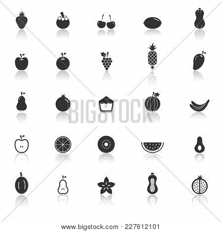 Fruit Icons With Reflect On White Background, Stock Vector