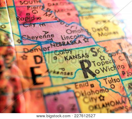 State Of Kansas Usa Isolated Focus Macro Shot On Globe Map For Travel Blogs, Social Media, Web Banne