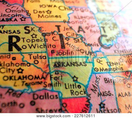 State Of Arkansas Usa Isolated Focus Macro Shot On Globe Map For Travel Blogs, Social Media, Web Ban