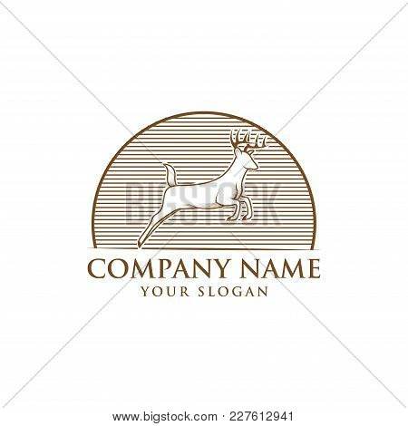 Running Horned Deer Line Art Vintage For Mascot Logo Template
