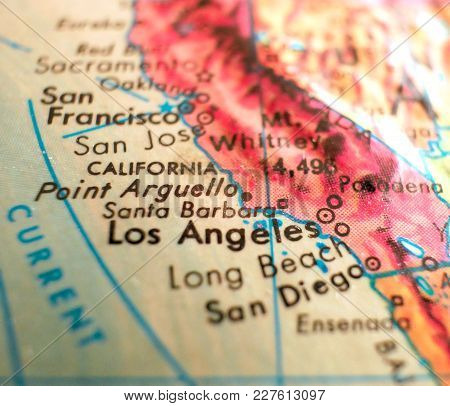 Santa Barbara California Map Usa Isolated Focus Macro Shot On Globe For Travel Blogs, Social Media,