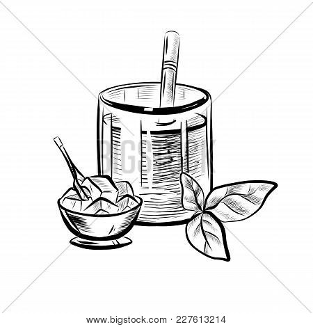 Sketch Illustration Of Glass With Straw, Mint Leaf And Ice Bowl. Hand Drawn Icon On White Background