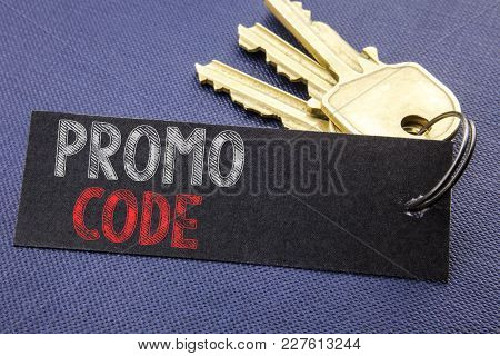 Handwritten Text Showing Promo Code. Business Concept Writing For Promotion For Online Business Writ