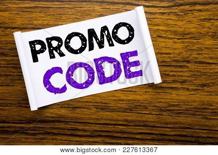 Word, Writing Promo Code. Business Concept For Promotion For Online Business Written On Sticky Note