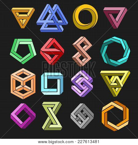 Impossible Shape Set. Vector 3d Geometry Surrealistic Paradox Undecided Shapes Isolated On Black Bac