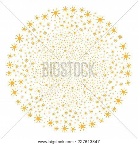 Sun Fireworks Globula. Object Pattern Done From Scattered Sun Pictographs As Burst Sphere. Vector Il