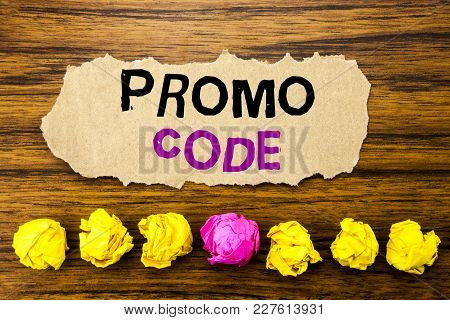 Handwriting Text   Promo Code. Concept For Promotion For Online Business Written On Sticky Paper Rem