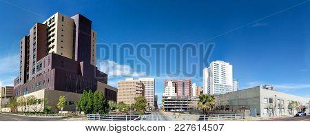 Phoenix, Az - January, 2018: 1st Avenue Running North Through Phoenix Downtown, Arizona Capital City