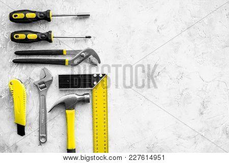 Various Repair Tools. Must-have For Men. Equipment For Building. Repair Tool Kit. Grey Background To