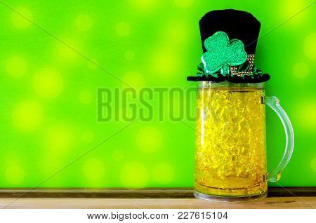St. Patricks Day Background With Traditional Symbols - Ice Beer, Leprechaun Hat And Clover