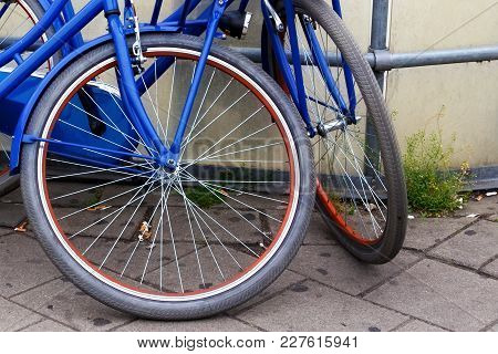 Garbage In The Form Of Cigarette Waste Under The Wheels Of Bicycles In Amsterdam. Netherlands.