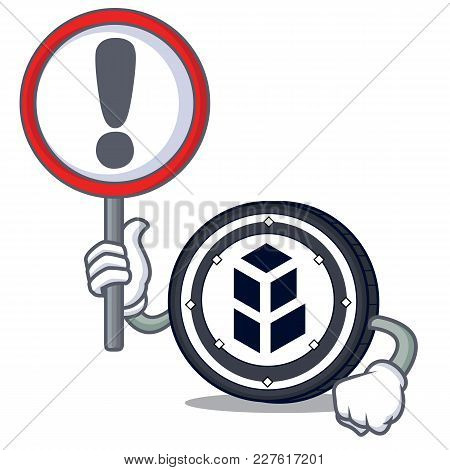 With Sign Bancor Coin Character Cartoon Vector Illustration