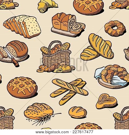 Bakery And Bread Vector Baking Breadstuff Meal Loaf Or Baguette Baked By Baker In Bakehouse Set Illu