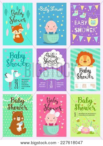 Baby Shower Design With Cute Woodland Animals Born Arrival Vector Graphic. Party Template Vintage Cu