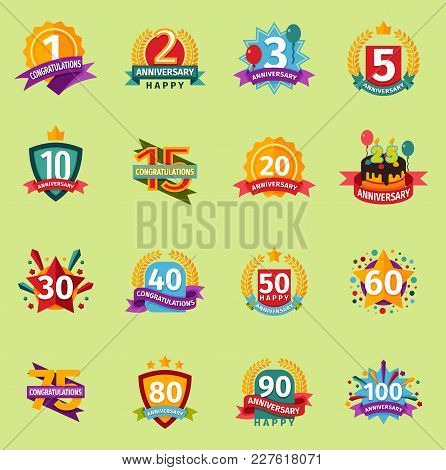 Birthday Badge Banner Design Flat Background Set. Happy Birthday Badges Celebration Design Emblem Se
