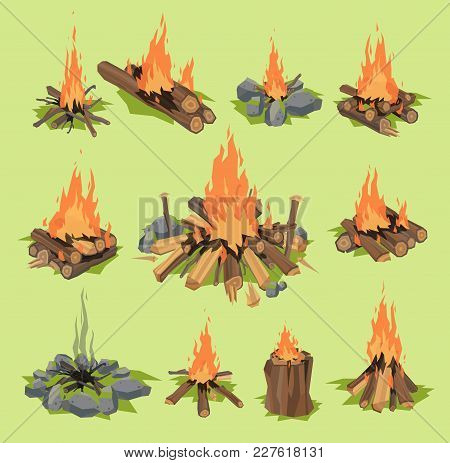 Fire Flame Or Firewood Outdoor Travel Bonfire Vector Fired Flaming Fireplace And Flammable Campfire