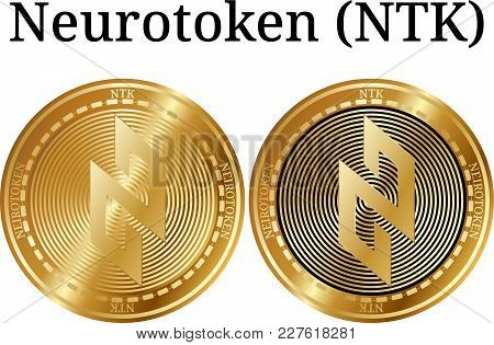 Set Of Physical Golden Coin Neurotoken (ntk), Digital Cryptocurrency. Neurotoken (ntk) Icon Set. Vec