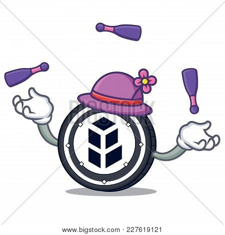 Juggling Bancor Coin Mascot Cartoon Vector Illustration