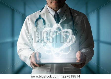 Doctor Showing Science Research Symbol From Tablet