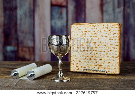 Still-life With Wine And Matzoh Jewish Passover Bread Passover Jewish Matzah Wine