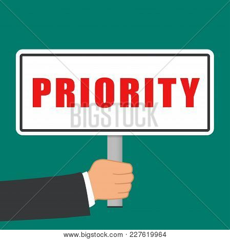 Illustration Of Priority Word Sign Flat Concept