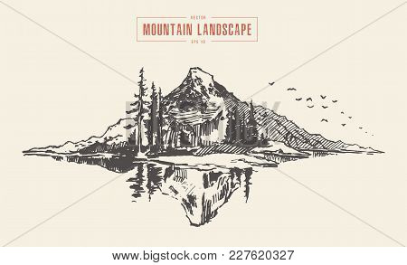 Vector Illustration Of A Mountain Peak With Pine Forest In Front Of A Lake, Engraving Style, Hand Dr