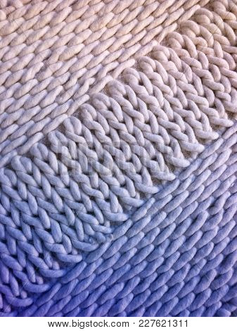 White And Blue Handmade Knitted Background With Simple Design.