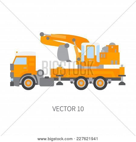 Color Plain Vector Icon Construction Machinery Truck Excavator. Industrial Retro Style. Corporate Ca
