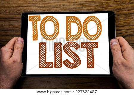 Hand Writing Text Caption To Do List. Business Concept For Plan Lists Remider Written Tablet Laptop,