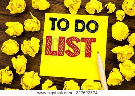 Writing Text Showing To Do List. Business Concept For Plan Lists Remider Written On Sticky Note Pape