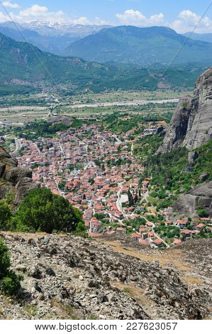 Meteora rock mountains and Kalabaka city from above, Greece