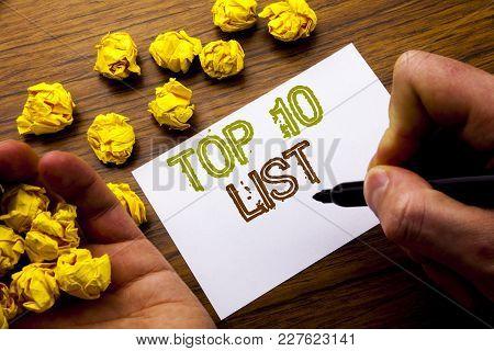 Word, Writing Top 10 Ten List. Concept For Success Ten List Written On Notebook Note Paper On Wooden