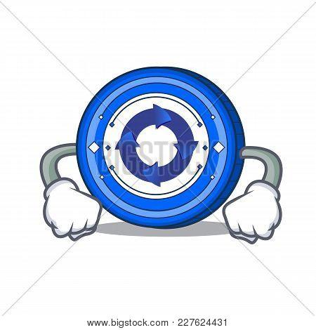 Angry Cryptonex Coin Mascot Cartoon Vector Illustration