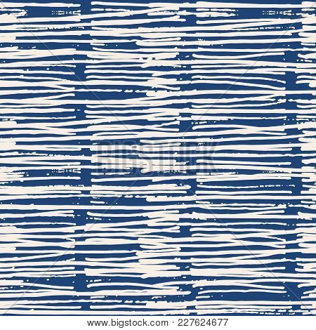 Endless Watercolor Texture Vector. Indigo Tie Dye Seamless Pattern. Natural Tiles. Japan Cotton Back